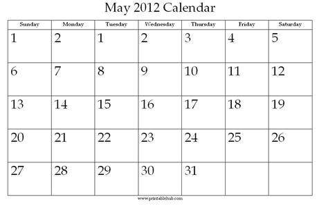 5 Best Images Of Printable Calendar May 2012  May June