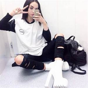 Shoes white shoes grunge shoes grunge heels white clothes black ripped ripped skinny ...