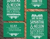 Items similar to Vintage wedding Invitation Emerald Green