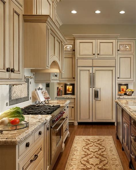 Kitchen Cabinet Colors And Countertops by Antique Ivory Kitchen Cabinets With Black Brown Granite