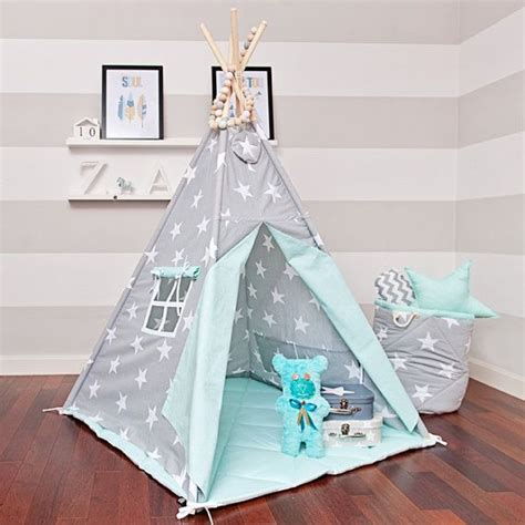 Tipi Kinderzimmer Mint by Teepee Play Tent Tipi Mint Sky By Funwithmum On Etsy