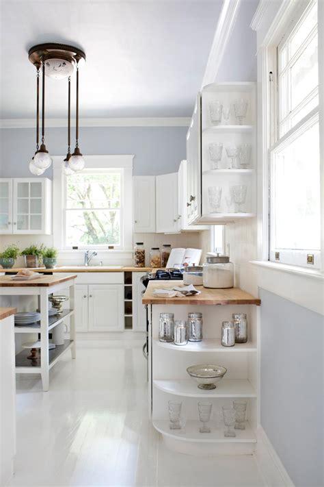 white  bright kitchen   cabinet display shelves