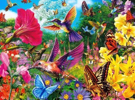 hummingbird garden  abstract background