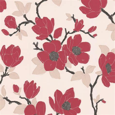 elinor carmine cream floral wallpaper departments
