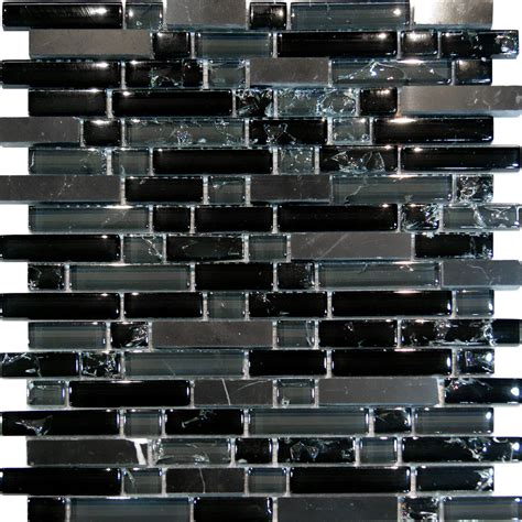 black glass tiles for kitchen backsplashes 10sf black marble crackle glass linear mosaic tile