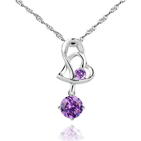stylish silver plated heart pendant necklace