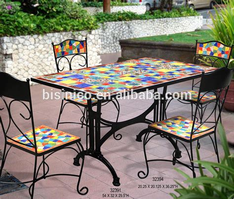table cuisine ceramique mexico style garden table and chairs outdoor wrought iron
