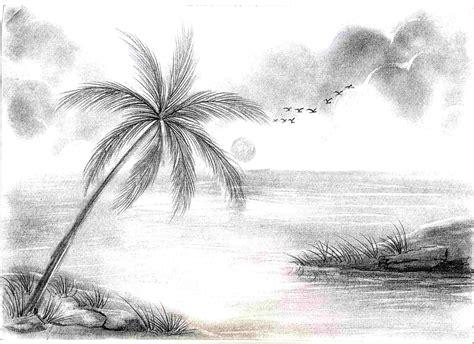 sketsa gambar pemandangan harian nusantara