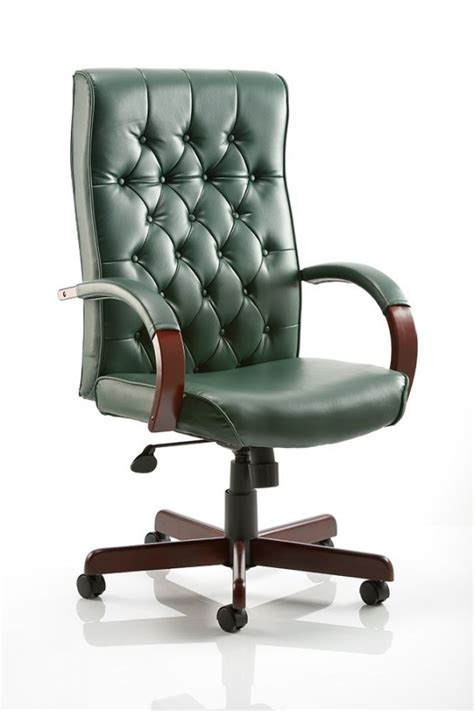 chesterfield leather office chair green