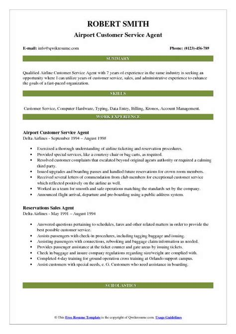 Resume For Airline by Airport Customer Service Resume Sles Qwikresume