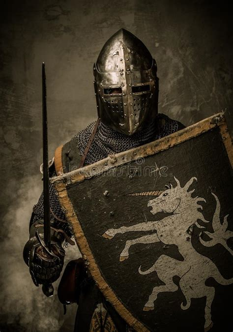 Knight Full Armour Stock Image Grunge Coat