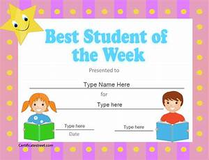 education certificates best student of the week With student of the week certificate template