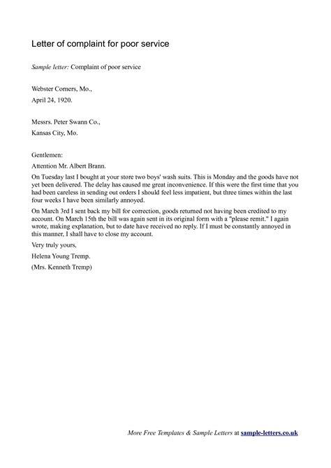 letter  dissatisfaction  poor service scrumps