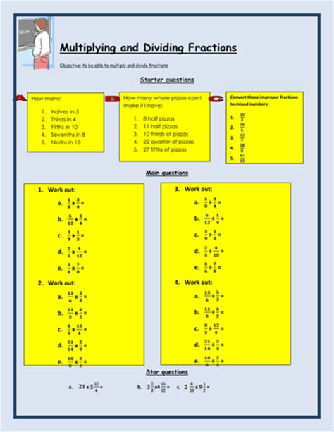worksheet on multiplying fractions tes multiplying and dividing fractions worksheet by bcooper87