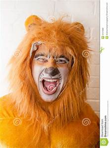 Man in Lion Costume stock photo. Image of wearing, paint ...