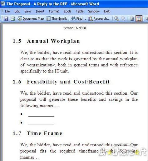 rfp response template rfp template free