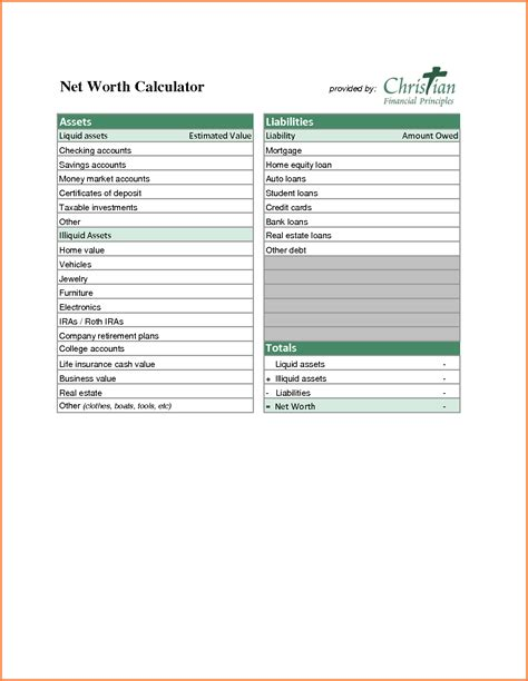 9 assets and liabilities spreadsheet excel spreadsheets