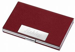 Business card holders for women samantha red leather for Women business card holder