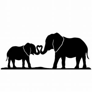 Mother And Baby Elephant Silhouette