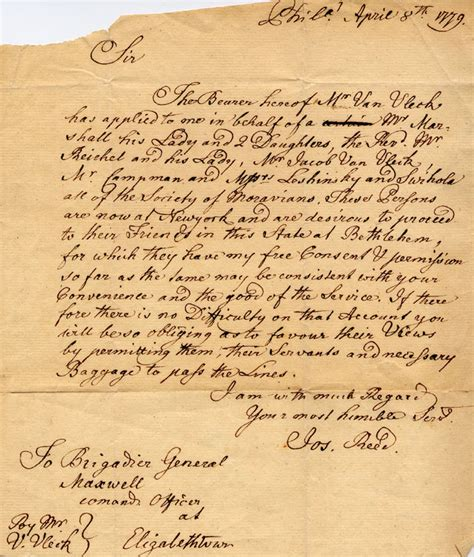 1779 letter to brigadier general maxwell from joseph reed