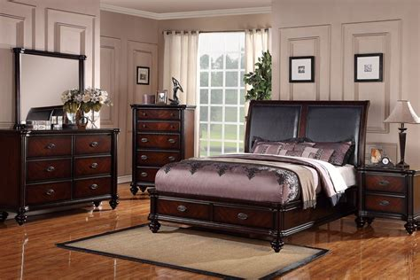 Bedroom Sets Cherry Wood by Poundex F9189 5 Pc Allison Cherry Finish Wood Black Faux