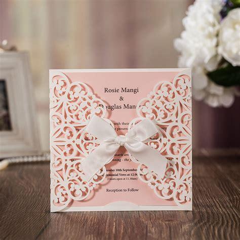 pcs sample pink laser cut luxury wedding invitation card