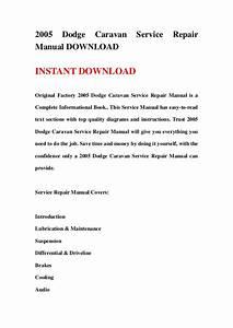 2005 Dodge Caravan Service Repair Manual Download