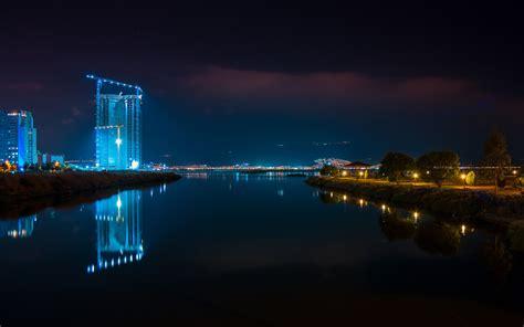wallpaper izmir cityscape night reflections neon