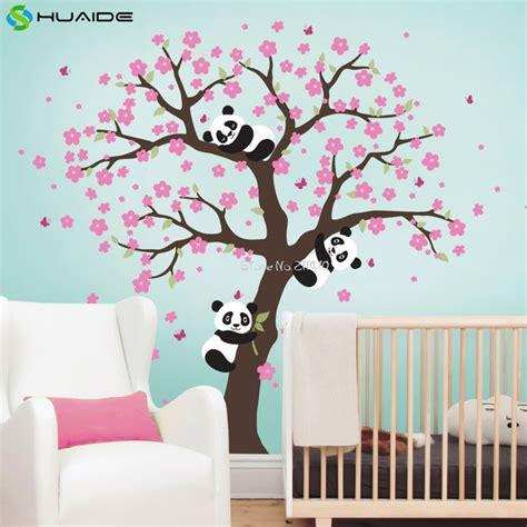 chambre bébé panda panda and cherry blossom tree wall decal for nursery