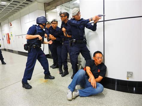 Police Conduct Anti-terror Exercises At Dhoby Ghaut