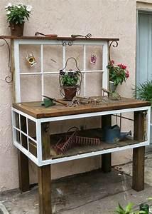 Tisch Aus Holz : pflanztisch aus alten fenstern und holz tisch gebaut garten pinterest 55 latte and und ~ Watch28wear.com Haus und Dekorationen