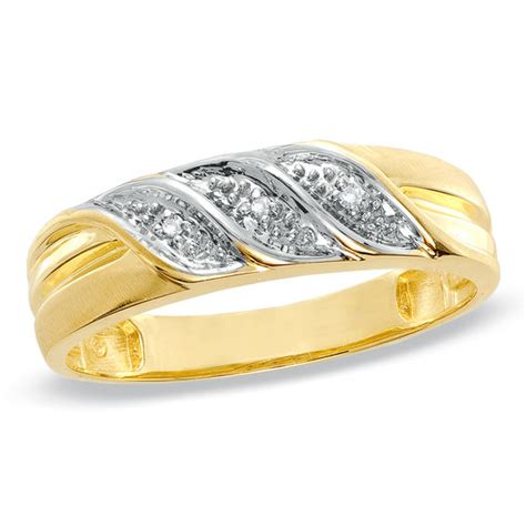 men s diamond accent wedding band in 10k gold wedding bands wedding zales