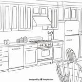 Kitchen Interior Vector Coloring Pages Colouring Adult Sketchy Freepik Drawing Premium Cooking Sketch Section Easy Sheet Tools Sweet Exclusive Users sketch template