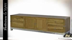 Grand Meuble Tv : grand meuble tv en ch ne 4 tiroirs et 2 portes int rieurs styles ~ Teatrodelosmanantiales.com Idées de Décoration