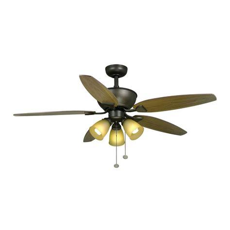 hton bay carrolton 52 rubbed bronze ceiling fan downrod 3light kit chain ebay