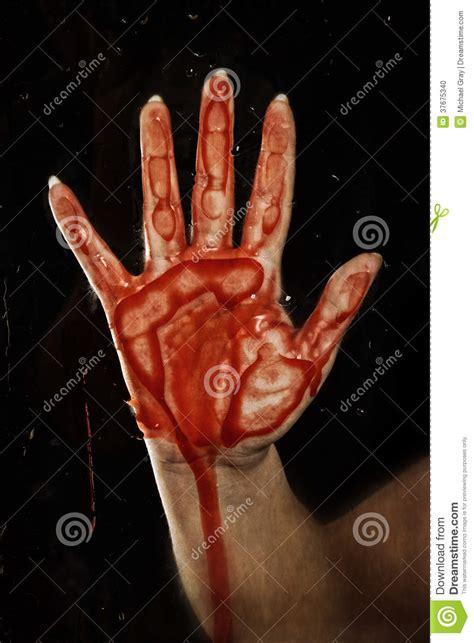 bloody hand  glass stock photo image
