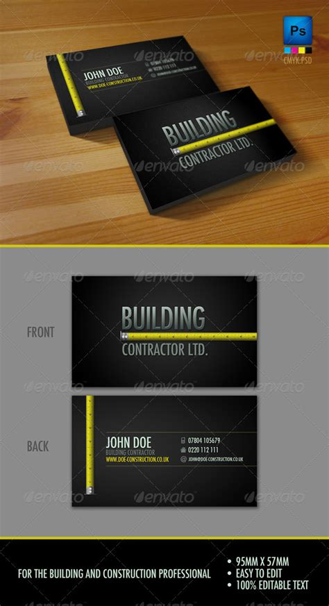 professional construction workers business card  sneek