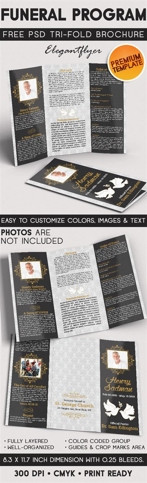 Templates For Tri Fold Brochures by Tri Fold Brochure For Funeral Program By Elegantflyer