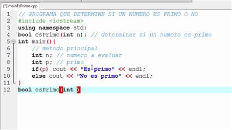 si es de programa c determinar si un número es primo