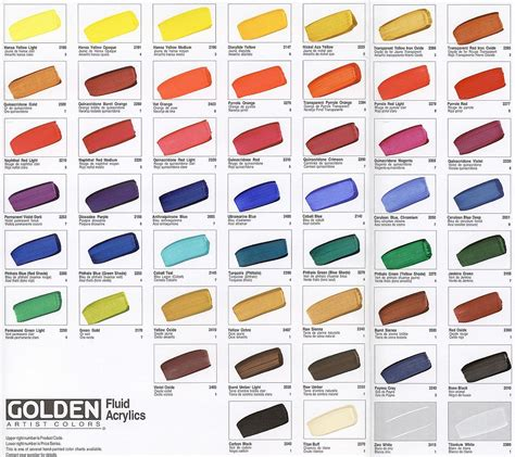 Golden Colour Chart by Modelisme Peintures Et Mediums Acryliques