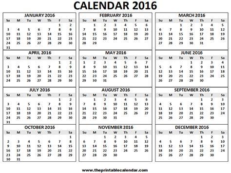 2016 calendar printable 12 months calendar on one page theprintablecalendar