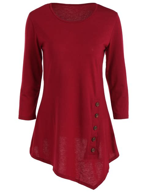 blousesshirts wine red trendy pure color button