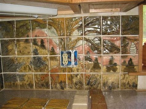 Hand Crafted Custom Wildlife Ceramic Tile Kitchen