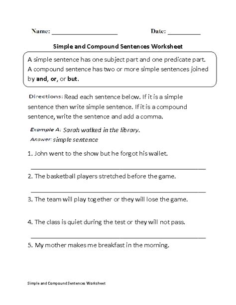 Compound Sentences Worksheets  Simple And Compound Sentences Worksheet