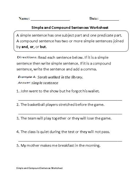 compound sentences worksheets simple  compound