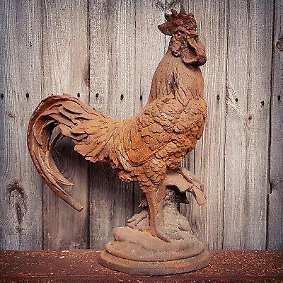 Cast Iron Cockerel Farm Outdoor Garden Patio Sculpture