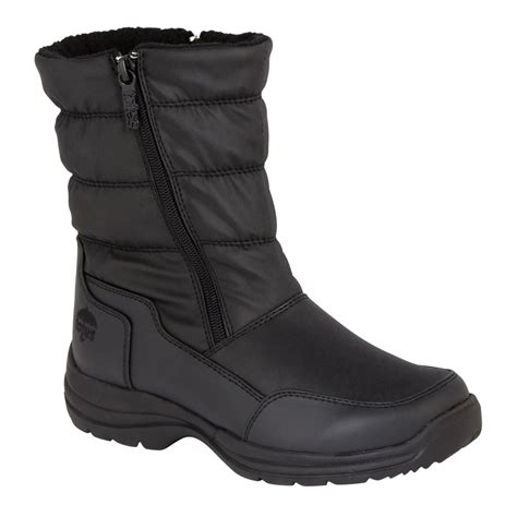 totes womens zipper winter boot black shoes womens