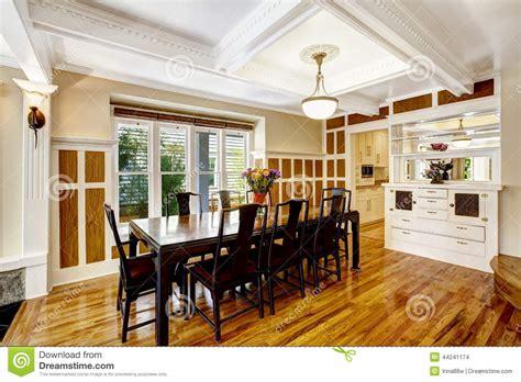 empressive dining room interior luxury house  wood trim stock photo image