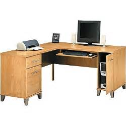 bush somerset 60 quot l desk maple cross staples 174