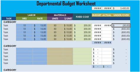 departmental budget worksheet excel xlstemplates
